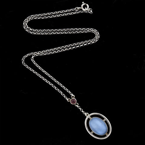 Edwardian Sterling Moonstone & Garnet Necklace