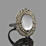 Art Deco Sterling Moonstone & Marcasite Ring