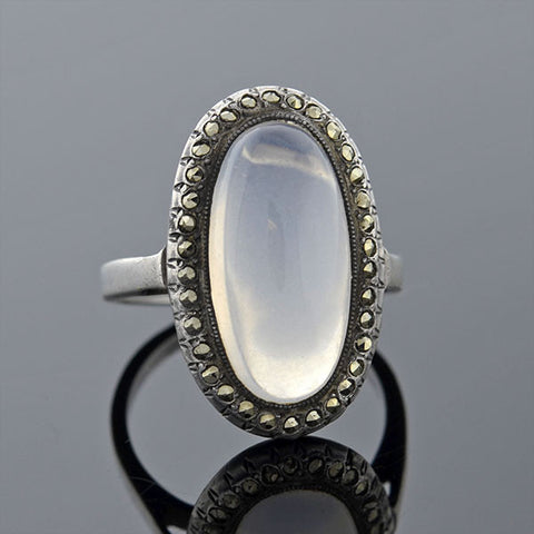Art Deco Silver Moonstone & Marcasite Ring