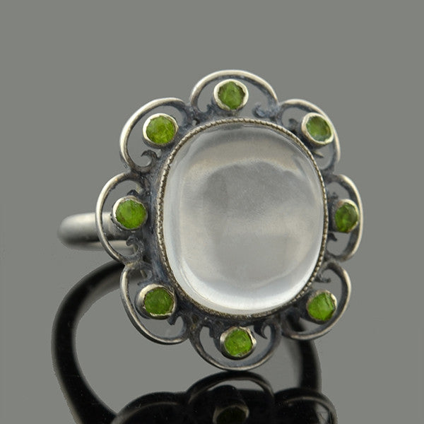 Edwardian Sterling Moonstone & Peridot Ring