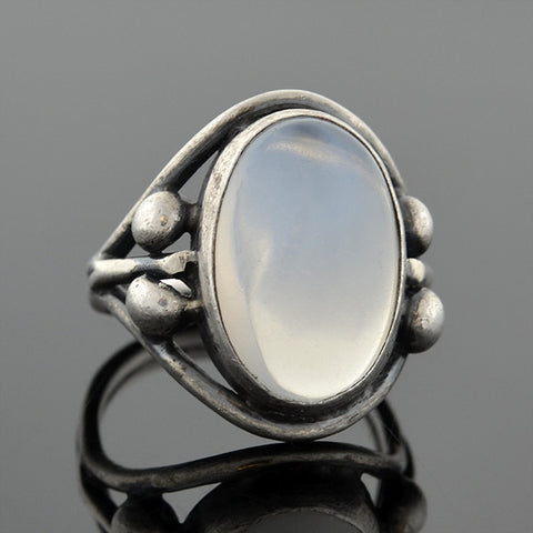 Arts & Crafts Sterling Beadwork Moonstone Ring