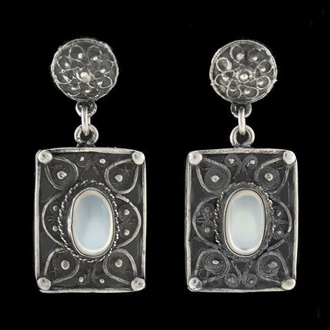 Retro Sterling & Moonstone Hand Wrought Earrings