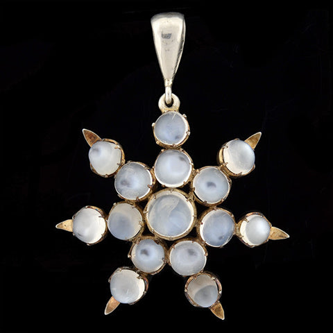 Art Deco Sterling & Moonstone Starburst Pendant