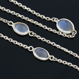 Estate Sterling Moonstone Link Chain Necklace 25