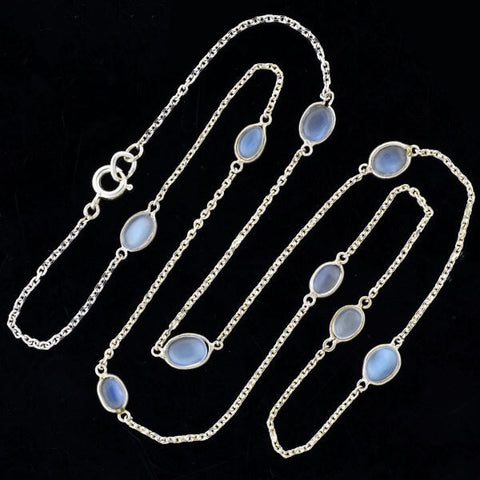 Estate Sterling Moonstone Link Chain Necklace 25""
