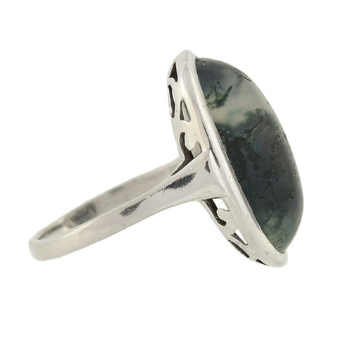 Art Deco German Silver Moss Agate Ring