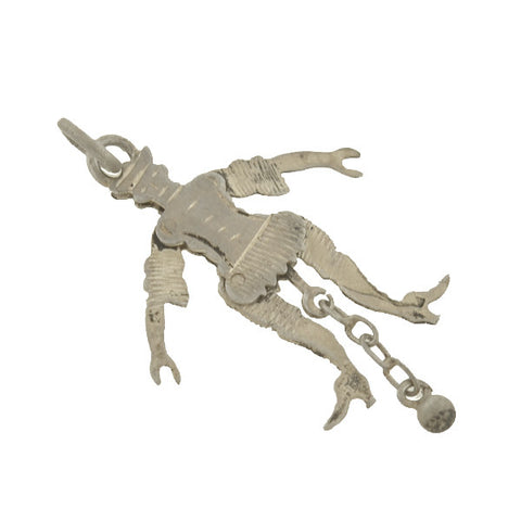 Victorian Sterling Moveable Jester Puppet Charm