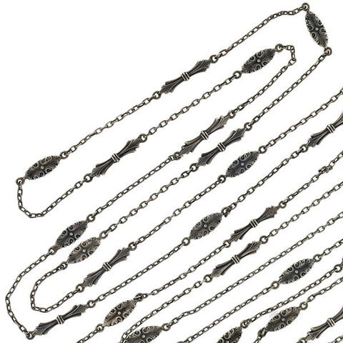 Art Nouveau Long Sterling Muff Chain Necklace 64""
