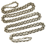 Victorian Long Sterling Silver Cable Link Muff Chain 72