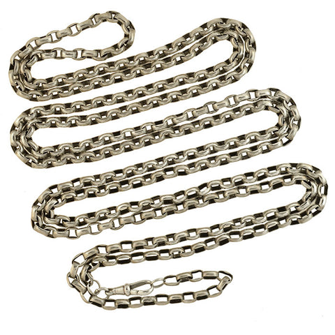 Victorian Long Sterling Silver Cable Link Muff Chain 72""