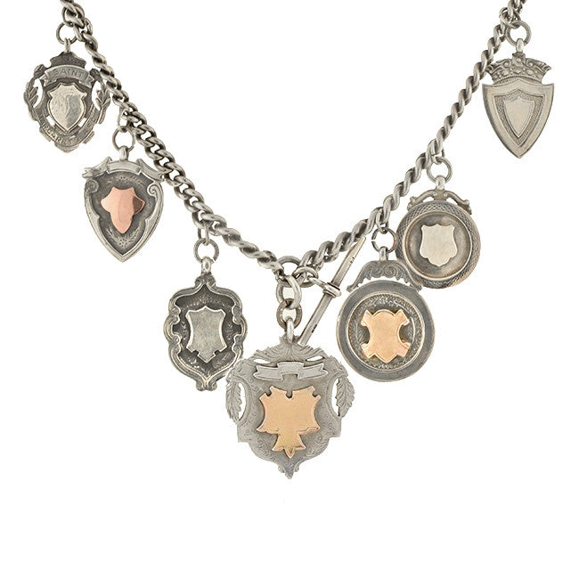 Victorian English Sterling & Rose Gold Medallion Festoon Necklace