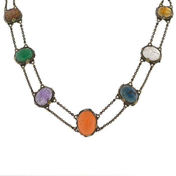 Art Deco Sterling & Multi Stone Carved Scarab Necklace