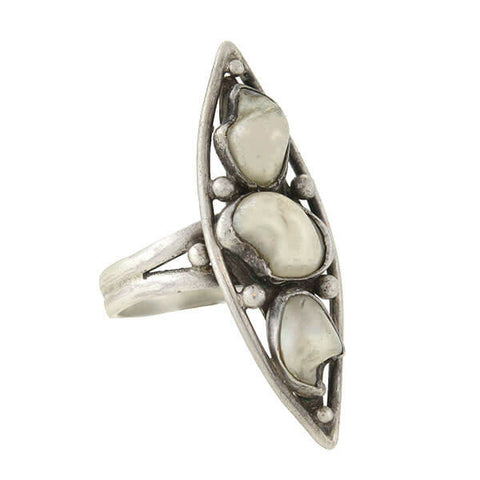 Arts & Crafts Sterling Mississippi River Pearl Navette Ring