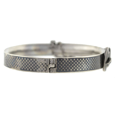 Victorian Sterling & Niello Checkerboard Buckle Bracelet