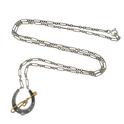 Victorian Sterling Niello Horseshoe & 9kt Riding Crop Necklace