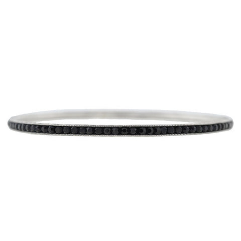 Art Deco Sterling & Faux Onyx Slip-On Bangle Bracelet