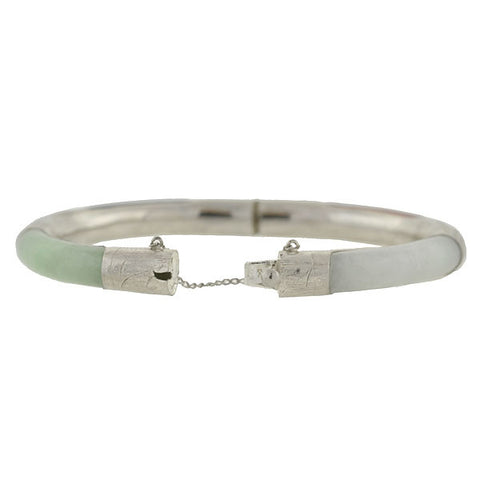 Estate Chinese Sterling & Multi Stone Bangle Bracelet