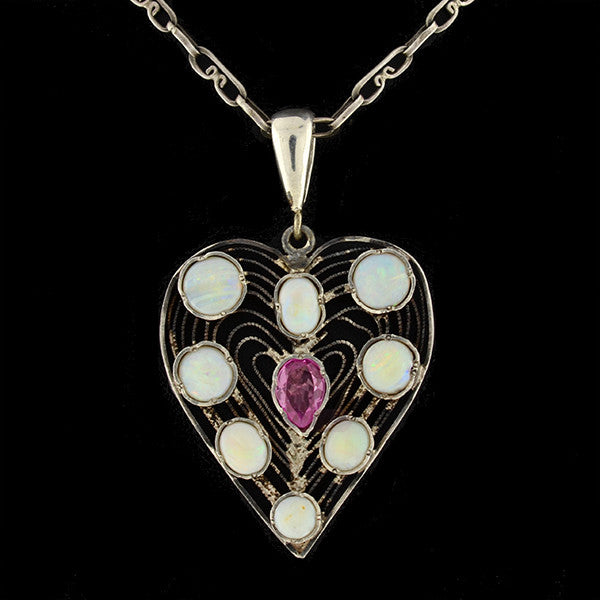 Vintage Sterling Opal & Crystal Heart Necklace