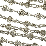 Victorian Long Sterling Filigree Heart Link Chain 60
