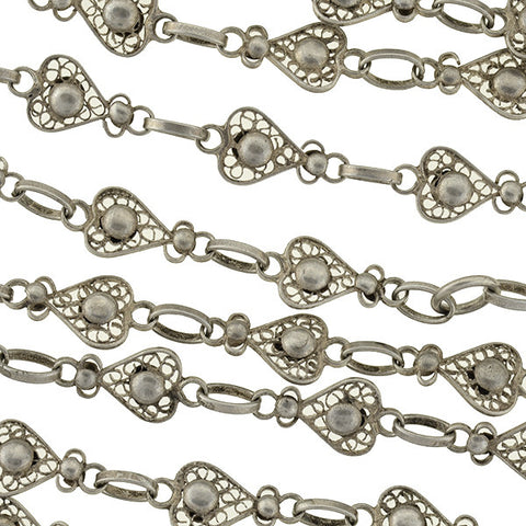 Victorian Long Sterling Filigree Heart Link Chain 60""