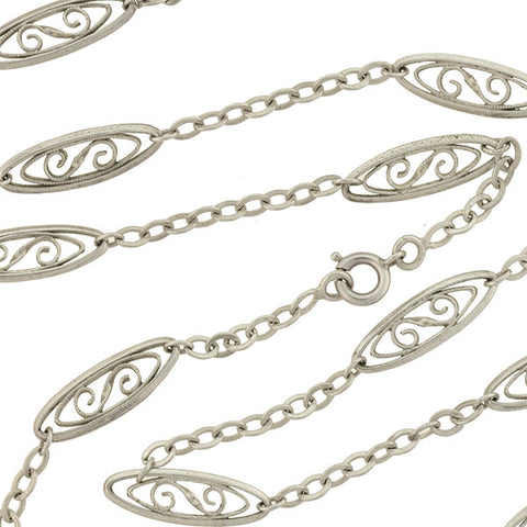 Late Victorian French Silver Fancy Link Filigree Chain 27.5""