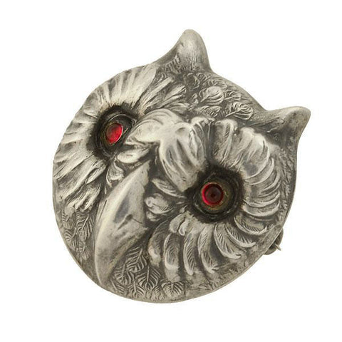 Victorian Sterling Silver Garnet Wise Owl Pin