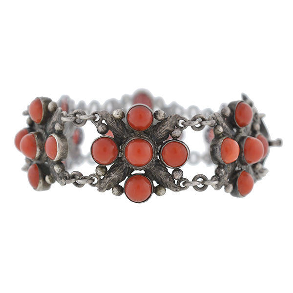 Arts & Crafts Sterling & Natural Oxblood Coral Bracelet
