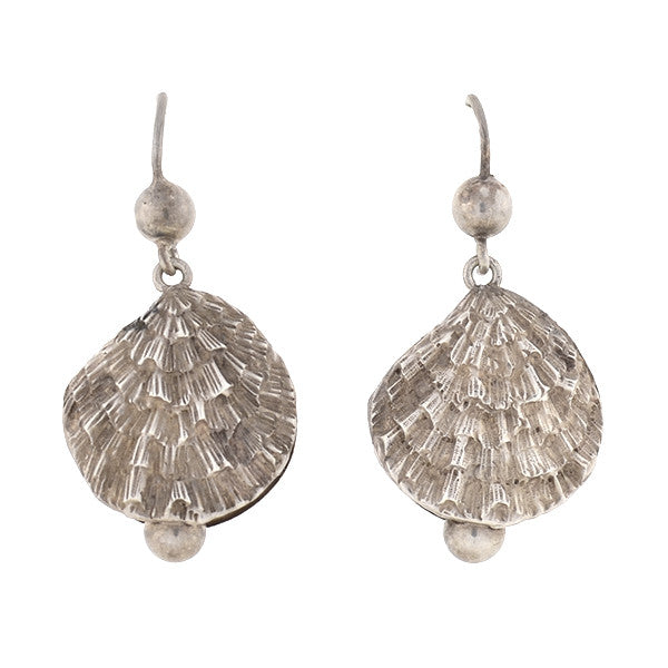 Victorian Sterling Oyster Shell Earrings