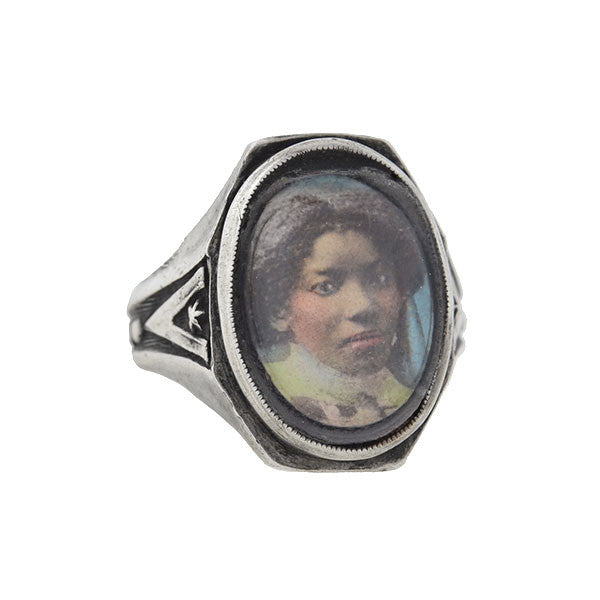 Victorian Rare Sterling Silver Photo Portrait Ring