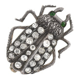 Victorian Sterling Silver French Paste Bug Pin