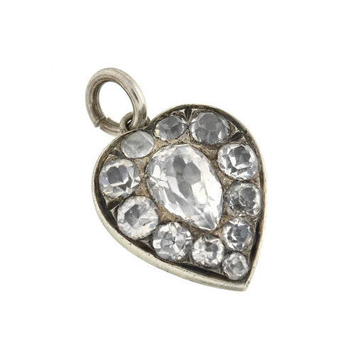 Victorian Petite Sterling French Paste Heart Charm