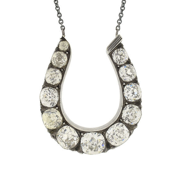 Victorian Sterling & French Paste Horseshoe Necklace