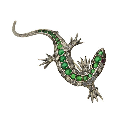 Victorian Silver & French Paste Lizard Pin