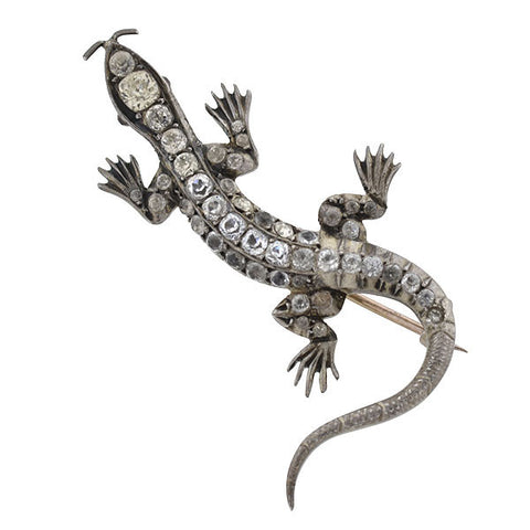 Victorian Sterling & French Paste Lizard Pin