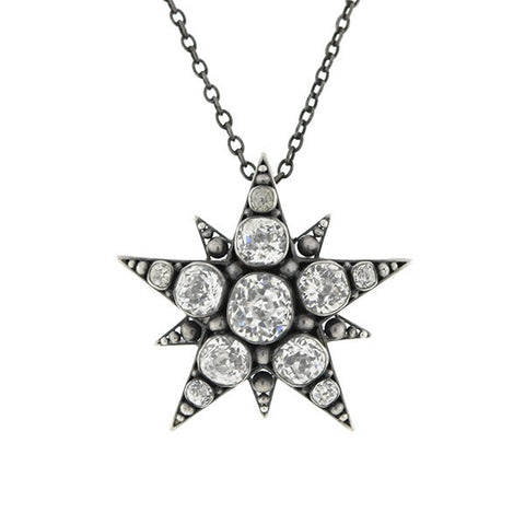 Victorian Sterling Silver & French Paste Starburst Necklace