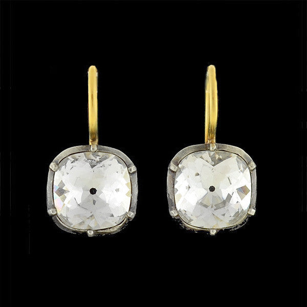 Victorian 14kt & Sterling French Paste Earrings