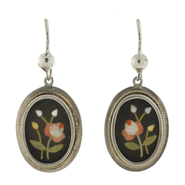 Victorian Sterling Pietra Dura Flower Earrings