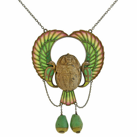 Art Nouveau Egyptian Revival Plique-à-Jour Scarab Necklace