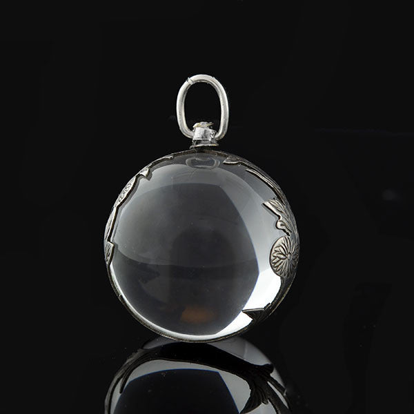Art Deco Sterling & Rock Quartz Crystal Pool of Light Pendant