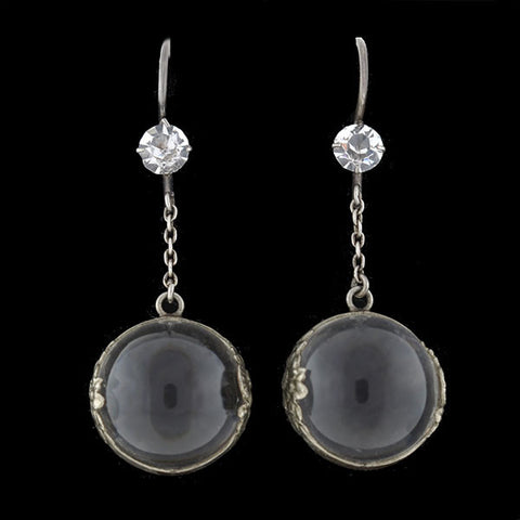"Art Deco Sterling ""Pools of Light"" Rock Quartz Earrings"