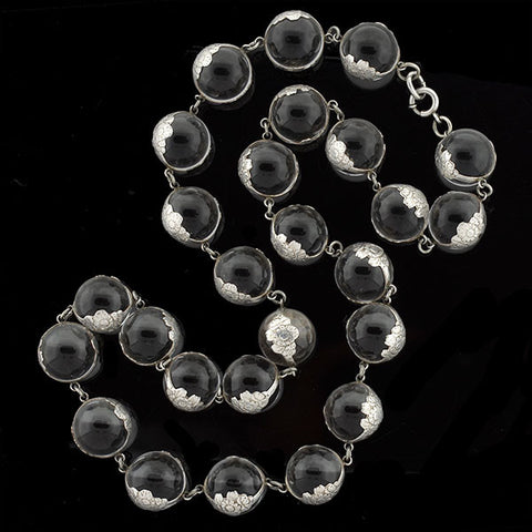"Art Deco Sterling ""Pools of Light"" Rock Quartz Necklace"