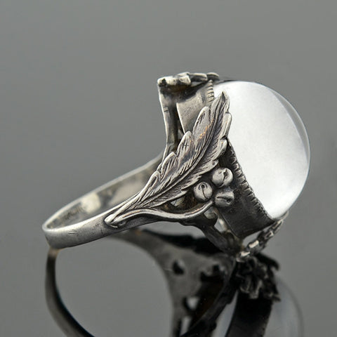 Art Nouveau Sterling & Rock Quartz Pool of Light Ring