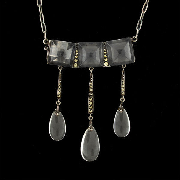 Art Deco German Sterling Rock Quartz Crystal & Marcasite Necklace