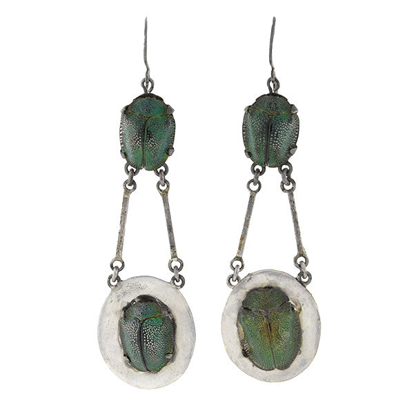 Victorian Sterling Silver & Scarab Beetle Earrings