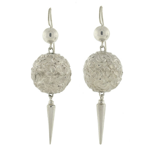 Victorian Sterling Floral Repousse Ball & Spear Earrings