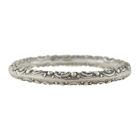 Victorian Sterling Silver Repousse Bangle Bracelet