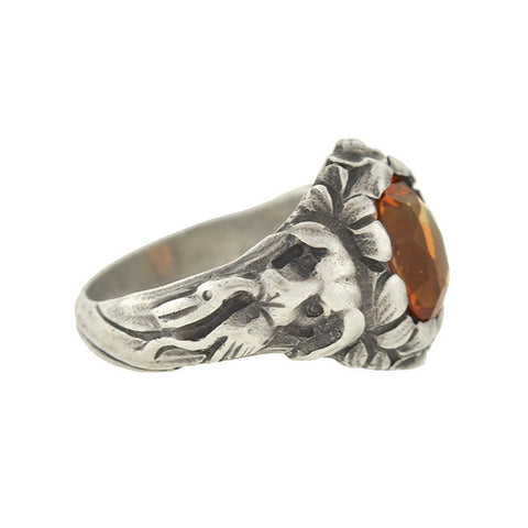Arts & Crafts Sterling & Citrine Hunting Dog Repousse Ring