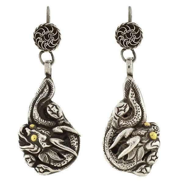 Late Art Deco Handmade Sterling Silver Dragon Earrings