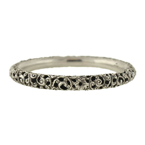 Victorian Sterling Silver Floral Filigree Bangle Bracelet