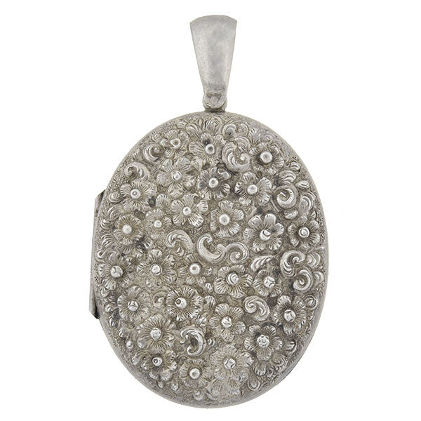 Victorian Sterling Floral Repousse Locket